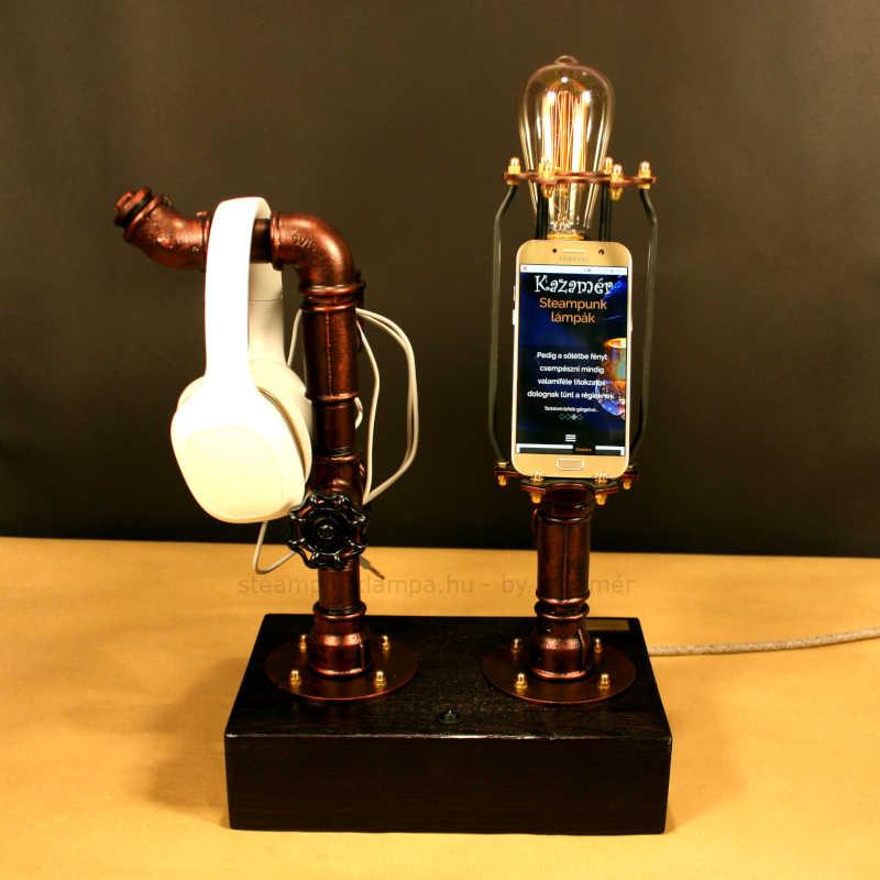 Telefontartós steampunk lámpa