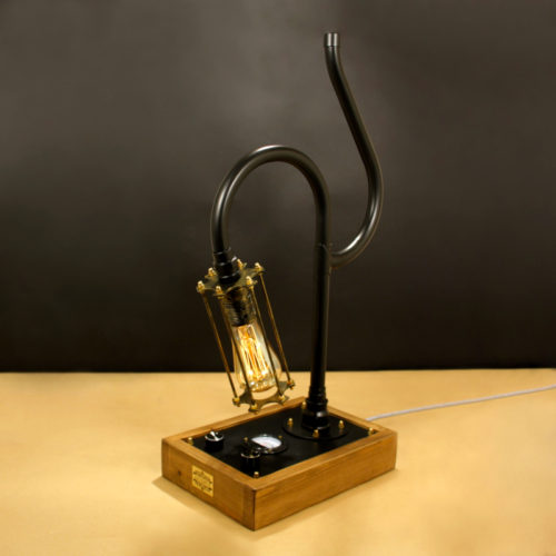 Fényerőszabályzós asztali indusztriális lámpa, edison 230V, 60W, E27