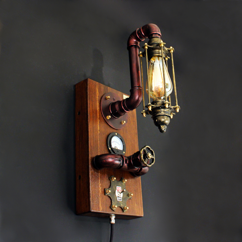 STEAMPUNK-27, fali fényerőszabályzós indusztriális lámpa