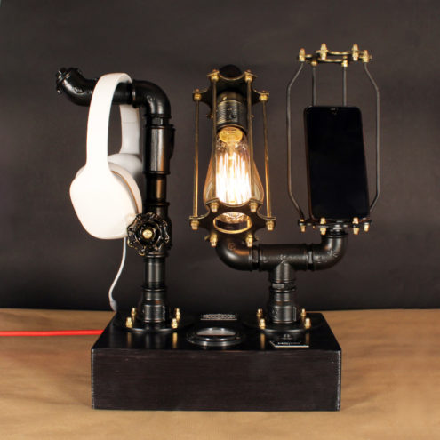 Fényerőszabályzós asztali indusztriális lámpa telefon és fejhallgató tartóval, edison 230V, 60W, E27