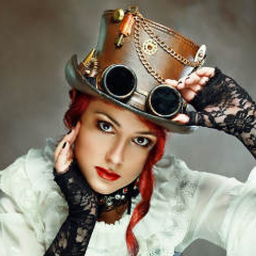 Portrait Beautiful Victorian Style Girl Wearing Steampunk Hat